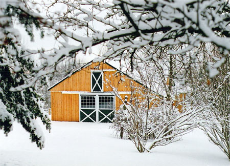 Hickory Springs barn in the snow