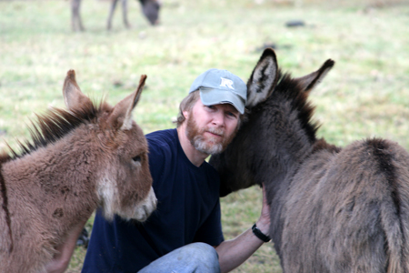 Mike with the Donkeys